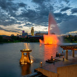 Heartland of America Park. Colorful water fountains in front of downtown Omaha in the Heartland of America Park in Omaha, Nebraska Stock Image