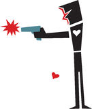 Heartless Gunman. Abstract person with gun and missing heart over white background Stock Photography