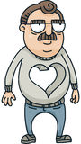 Heartless Man. A cartoon man with a large hole where his heart should be Royalty Free Stock Image