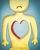 Heartless sad character. Illustration of a heartless sad character Royalty Free Stock Images