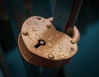 Heartlock giallo allegato al ponte fotografie stock libere da diritti