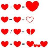 Heartrithmetic l'aritmetica dell'illustrazione di concetto di amore Fotografia Stock