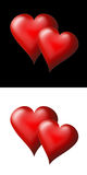 Hearts 1. Two hearts on a black background and two hearts on a white background Stock Photo