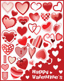 Hearts. Collection of different hearts for Valentines day royalty free illustration