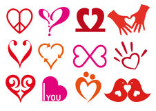 Hearts. Heart icons,  symbol set Stock Image
