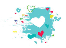 Hearts. White, red, yellow, green and blue hearts on blue background Stock Photos