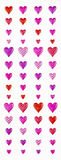 Hearts. Differently sized hearts in red purple and pink Royalty Free Stock Images