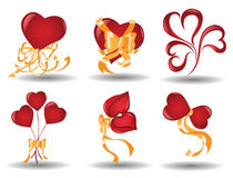 Hearts. There are icons with hearts and ribbon Stock Image