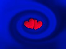 Hearts. Two little hearts into a blue twirl Stock Image
