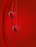 Hearts. Two hearts on red background Royalty Free Stock Photos