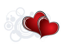 Hearts. Two hearts on white background with gray circles Royalty Free Stock Images