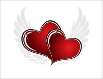 Hearts. Two hearts on white background with gray wings Royalty Free Stock Photos
