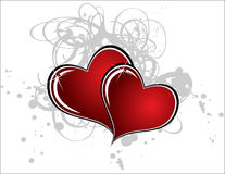 Hearts. Two hearts on white background with gray ink Stock Image