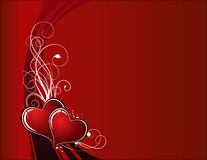 Hearts. Two hearts on red background Royalty Free Stock Image