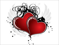 Hearts. Two hearts on white background with gray wings and ink Royalty Free Stock Photos