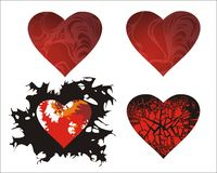 Hearts. Four differently ornamented hearts Stock Photo
