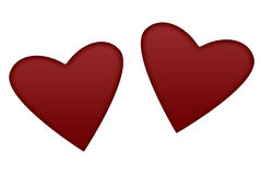Hearts. Two red hearts on the white backround Stock Photography