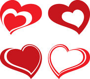 Hearts. Vector design of four red hearts stock illustration