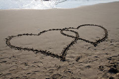 Hearts. Heart written on the beach to show Royalty Free Stock Photography