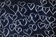 Hearts. Several hearts drawn with a chalk on a blackboard Royalty Free Stock Photo