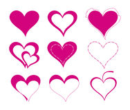 Hearts. Various hearts background on white Stock Images