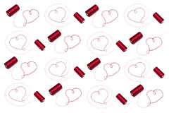 Hearts. Made of red thread with spool Stock Images