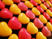 Hearts. Candy hearts lined up by color Royalty Free Stock Photo