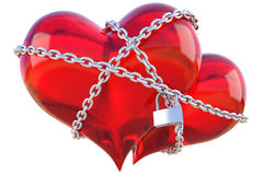 Hearts. Two glas hearts linked together with silver chain. isolated on white with clipping path Stock Photography