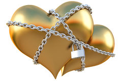 Hearts. Two golden hearts linked together with silver chain. isolated on white with clipping path Royalty Free Stock Photo