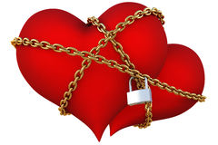 Hearts. Two velvet hearts linked together with golden chain. isolated on white with clipping path Stock Photo