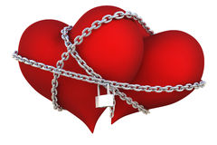 Hearts. Two velvet hearts linked together with silver chain. isolated on white with clipping path Stock Images