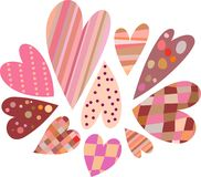 Hearts. Colored hearts in a striped, checkered, polka-dot Stock Photography