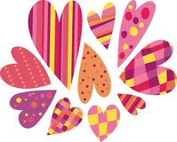 Hearts. Colored hearts in a striped, checkered, polka-dot Stock Images