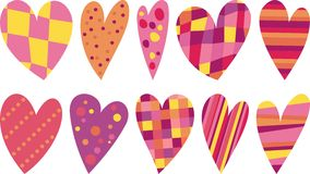 Hearts. Colored hearts in a striped, checkered, polka-dot Royalty Free Stock Images