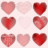 Hearts. Red hearts on pink background Royalty Free Stock Photography