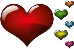 Hearts. Shiny hearts in different colors Royalty Free Stock Photos