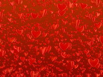 Hearts 2. Hundreds of red reflective hearts floating over a dark red background Royalty Free Illustration