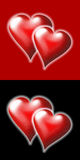 Hearts 2. Two hearts on a red background and two hearts on a black background Stock Images