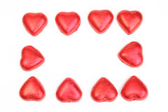 Hearts. Photograph of red Hearts shot in studio and arranged as a frame Stock Photography
