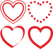 Hearts. Four different hearts in red Royalty Free Stock Image