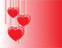 Hearts. Three hearst on a red background Stock Images