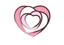 Hearts. Multiple  hearts on top of one another with an artistic brush touch Stock Photography