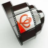 Hearts. A film reel with hearts background on it Stock Photos