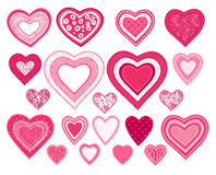 Hearts. 18 decorative hearts for Valentine day design vector illustration