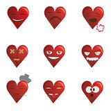Hearts. Graphic illustration of set of hearts with different emotions conveyed Stock Photography