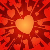 Hearts. Red hearts in a zoom-in style background royalty free illustration