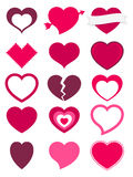 Hearts. A set of 15 hearts available in different colors, shapes and styles Royalty Free Stock Image