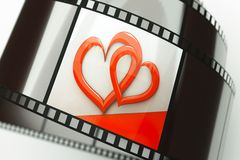 Hearts. A film reel with hearts background on it Stock Photo