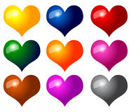 Hearts. Colorful Isolated Hearts on White Background Stock Illustration