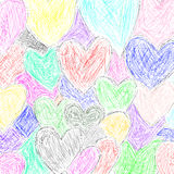 Hearts. A background of colorful hand drawn hearts Royalty Free Illustration